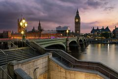 View to the City of Westminster in London, United Kingdom. View to the City of Westminster with the Big Ben clocktower during sunset time in London, United stock photos