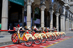 View to citybike station at the square Duomo in Milan. Stock Photos