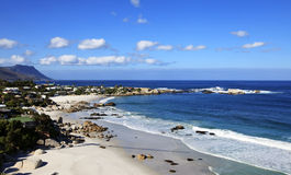 View to the Clifton Beach in Cape Town. Clifton Beach Cape Town view towards the Atlantic royalty free stock photo