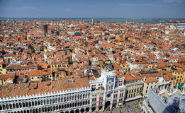 View to clocktower from campanille at San Marco Stock Photos