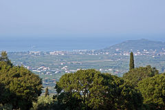 View to coast and town on island Zakynthos Royalty Free Stock Photos