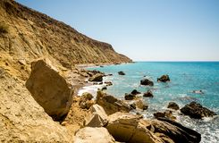 A view to coastline in Pissouri bay not far from the tourist beach, Cyprus Stock Photo