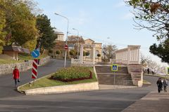 View to the colonnade on Gagarin Boulevard in Pyatigorsk, Russia Royalty Free Stock Photography