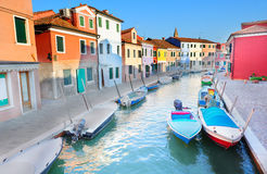 View to the colorful houses of Burano island Royalty Free Stock Images