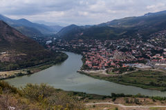View to confluence Aragvi and Mtikvari rivers and town of Mtsheta from Jvari church. Georgia. View Royalty Free Stock Photos