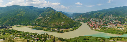 View to confluence Aragvi and Mtikvari rivers and town of Mtskhe Stock Photography
