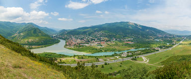 View to confluence Aragvi and Mtikvari rivers and town of Mtskhe Stock Photos