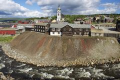View to the copper mines town of Roros in Roros, Norway. Royalty Free Stock Images