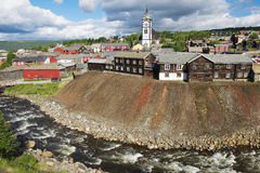 View to the copper mines town of Roros in Roros, Norway. Stock Photography