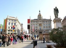 View to Cordusio square in the centre of Milan in sunny Carnival day. Royalty Free Stock Image