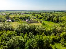 view to countryside in summer in Lipetsk region in Russia Royalty Free Stock Photos