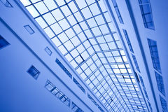 View to crop of blue ceiling trade center Royalty Free Stock Photography
