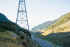 A view to a curve of the most famous, spectacular and dangerous. Road in Europe is a Transfagarasan road in Carpathian mountains, Romania. Potentially dangerous royalty free stock images