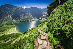 View to Czarny Staw Gasienicowy at dawn in summer, Tatras. Europe Royalty Free Stock Photography