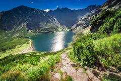 View to Czarny Staw Gasienicowy in summer, Tatras. Europe Royalty Free Stock Image