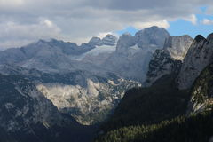 View to Dachstein massif with glacier from Grosser Donnerkogel Royalty Free Stock Photography