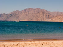View to Dahab gulf from the beach. View to Dahab gulf and mountains from the hotel beach stock images
