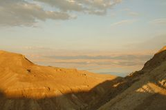 View to Dead sea From the mountains. Judean Desert and Dead Sea Royalty Free Stock Photo