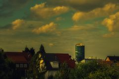 View to different buildings from a train station. In Stuttgart royalty free stock image