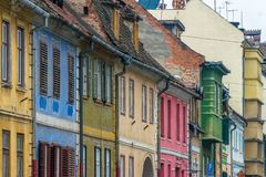 View to different colours of the Sibiu's architecture in Transylvania region, Romania.  royalty free stock photo