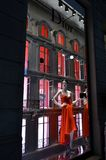 View to Dior boutique window in Montenapoleone fashion street. Royalty Free Stock Images