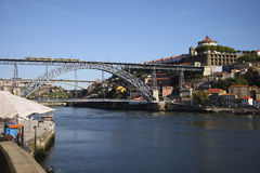 View to Doru river embankment in Oporto city. Beauty of architecture Stock Images