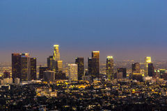 View to downtown Los Angeles. By night Stock Images