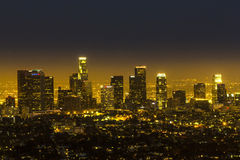 View to downtown Los Angeles. By night Stock Photos