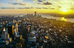 View to downtown Manhattan with the twin towers the World Trade Stock Photography