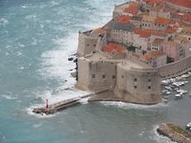 Dubrovnik old town on strong south wind royalty free stock photography