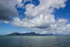 view to dunk island on a beautiful summer day, Missions beach, Queensland, Australia stock images