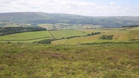 View to Dunkery Beacon the highest point on Exmoor Somerset England UK PAN. stock video footage