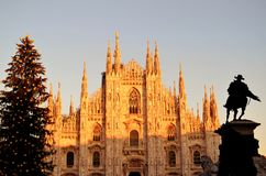 View to Duomo of Milan, Christmas tree and king's monument. Royalty Free Stock Images