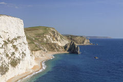View to Durdle Door. Landscape photo showing Jurassic Coast to Durdle Door and St Adhelm's Head in the distance Royalty Free Stock Photography