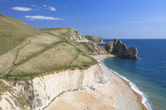 View to Durdle Door. Landscape photo showing Jurassic Coast to Durdle Door Royalty Free Stock Images
