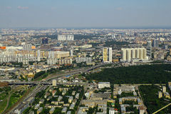 View to dwelling houses from Moscow International Business Center Stock Photos