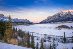 Abraham lake covered with snow in golden hour royalty free stock photo