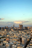 Downtown Tel-Aviv Skyline. A view to the east, depicting the cityscape of downtown Tel-Aviv and its neighboring city Ramat-Gan at dusk. This is the central Stock Images