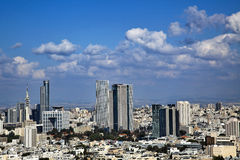 Downtown Tel-Aviv Skyline. A view to the east, depicting the cityscape of downtown Tel-Aviv and its neighbouring city Ramat-Gan. This is the central skyscraper Stock Photos