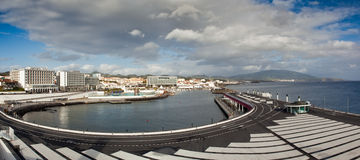 View to the Ponta Delgada city. View to the eastern part of Ponta Delgada city from marina, San miguel, Azores, Portugal Stock Photos