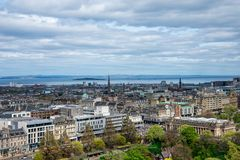 A view to Edinburgh city and river Forth from the castle wall Royalty Free Stock Photo