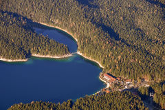 View to the Eibsee from the Zugspitze summit Royalty Free Stock Images