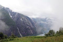 View to Eidfjord from Kjeansen farm, Norway Stock Photography
