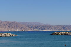 View to Eilat gulf and Aqaba Stock Photos