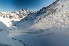 View of the ski resort Jungfrau Wengen in Switzerland. View to the Eismeer from Jungfrau railway in Switzerland on January 2017 royalty free stock image