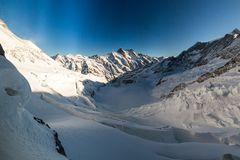 View of the ski resort Jungfrau Wengen in Switzerland. View to the Eismeer from Jungfrau railway in Switzerland on January 2017 royalty free stock photography