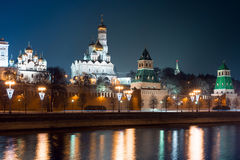 View to embankment of the river, Moscow Kremlin's wall and The Ivan the Great Bell-Tower complex Royalty Free Stock Image