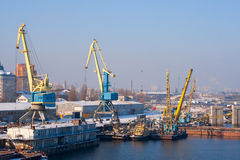 View to empty cargo dock with cranes and Stock Image