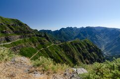 View to Encumeada Pass from viewpoint Canto do Muro, Madeira, Portugal.
