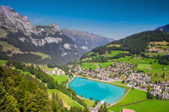 View to Engelberg with Eugenisee lake under the Mt. Titlis Stock Image